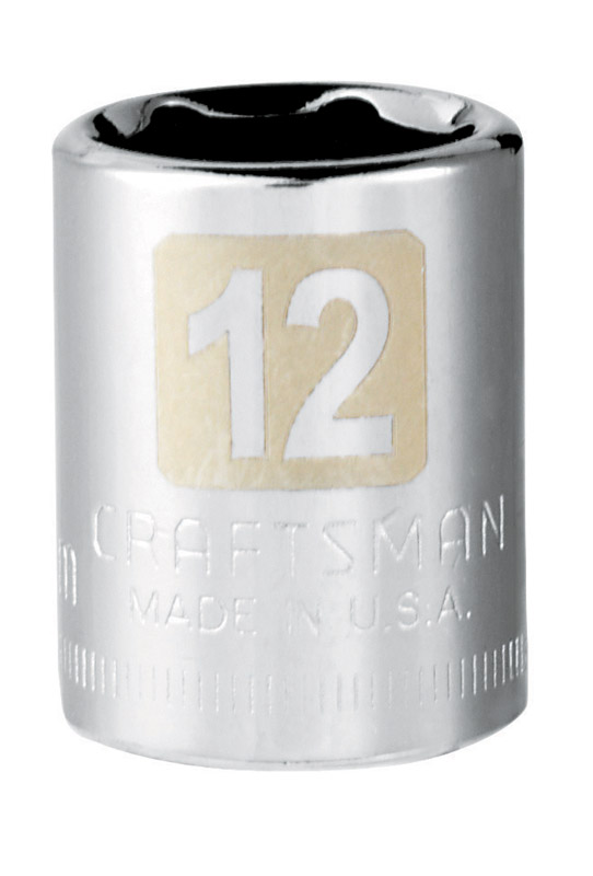 Craftsman  12 mm  x 1/4 in. drive  Metric  6 Point Standard  Socket  1 pc.