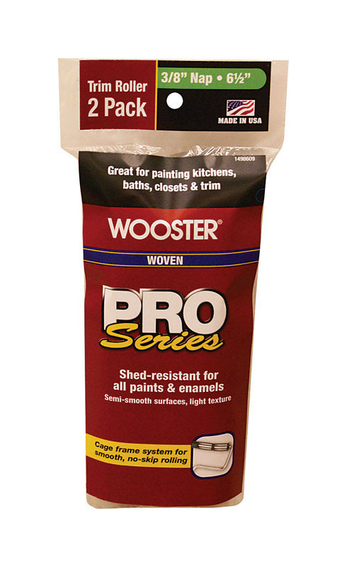 Wooster  Pro Series  Woven  3/8 in.  Trim  For Semi-Smooth Surfaces 2 pk Paint Roller Cover