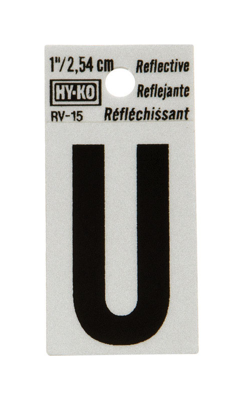 Hy-Ko  Vinyl  Black  U  Letter  Self-Adhesive  1 in. Reflective
