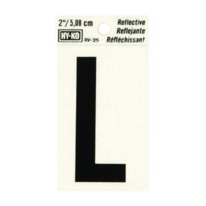 Hy-Ko  2 in. Reflective Black  Vinyl  Letter  L  Self-Adhesive  1 pc.