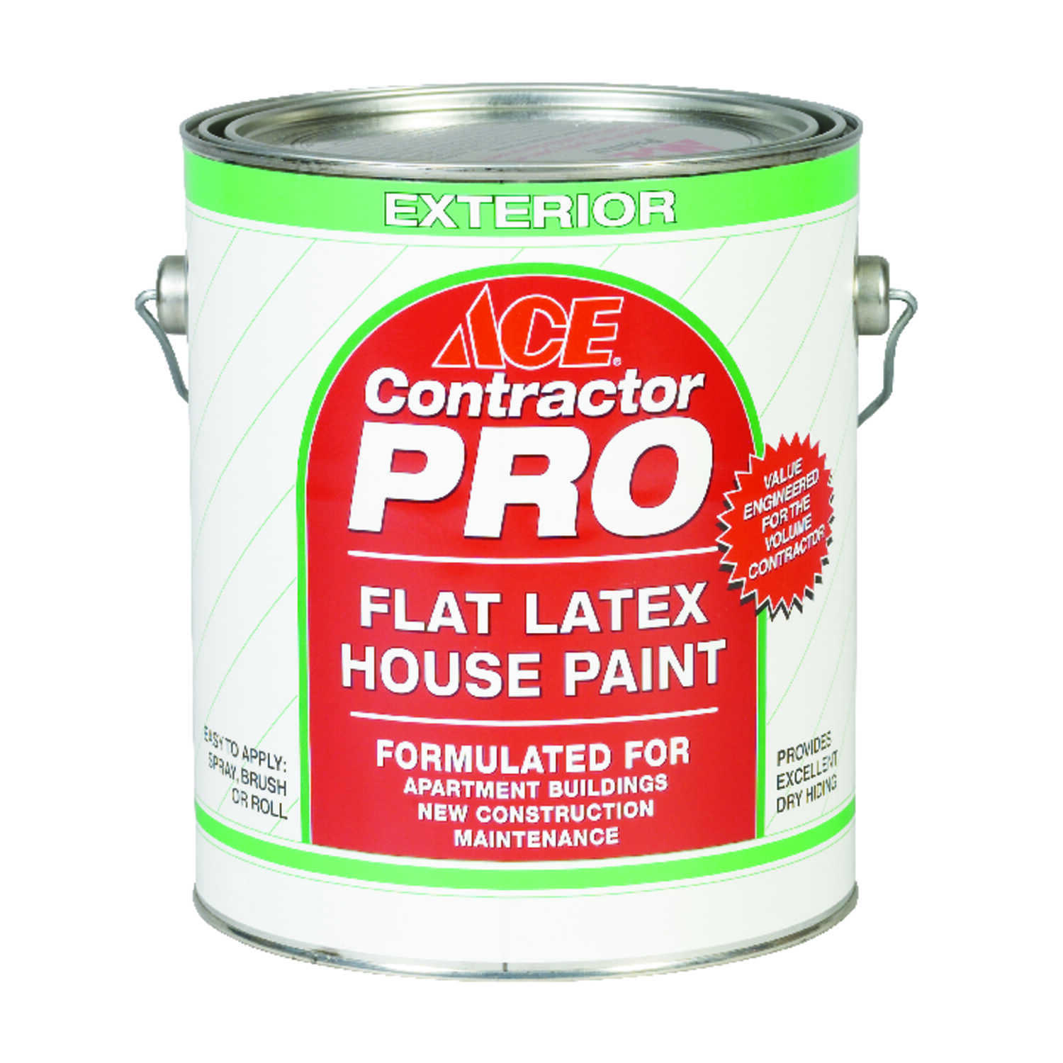 Ace  Contractor Pro  Flat  White  Latex  1 gal. House Paint