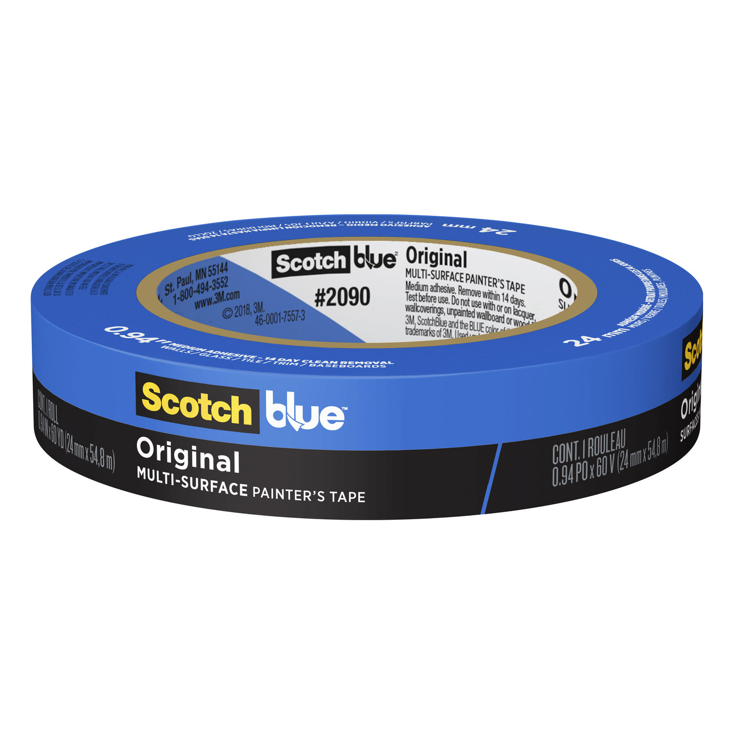 3M  Scotch Blue  0.94 in. W x 60 yd. L Medium Strength  Painter's Tape  1 pk Blue