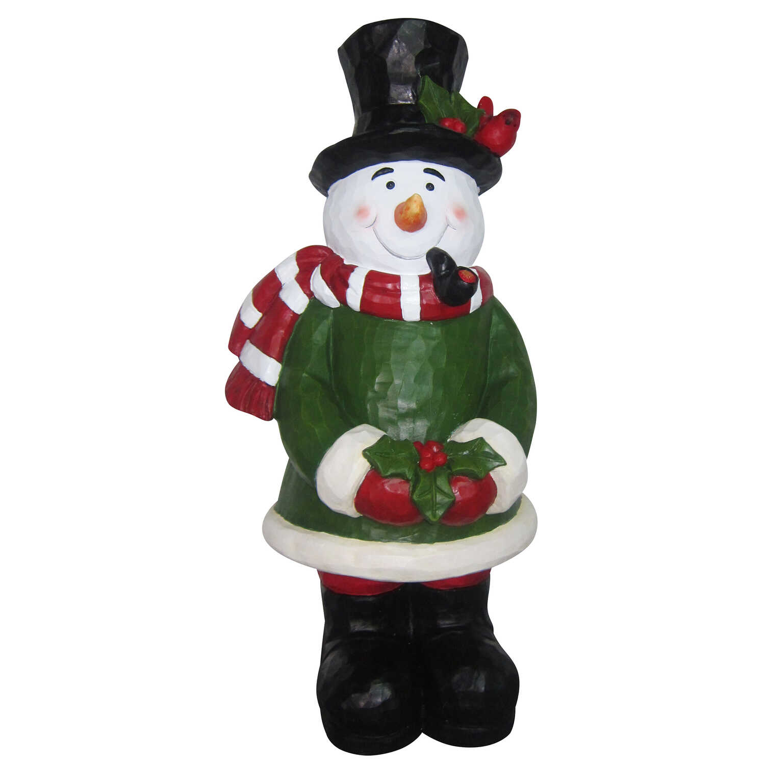 Alpine  Snowman Statue  Christmas Decoration  Multicolored  Resin  1 each
