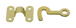 National Hardware  Brass-Plated  Brass  Hook and Staple  2 pk