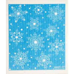 Wet-It!  Blue/White  Cellulose/Cotton  Snow Flakes  Dish Cloth  1 pk