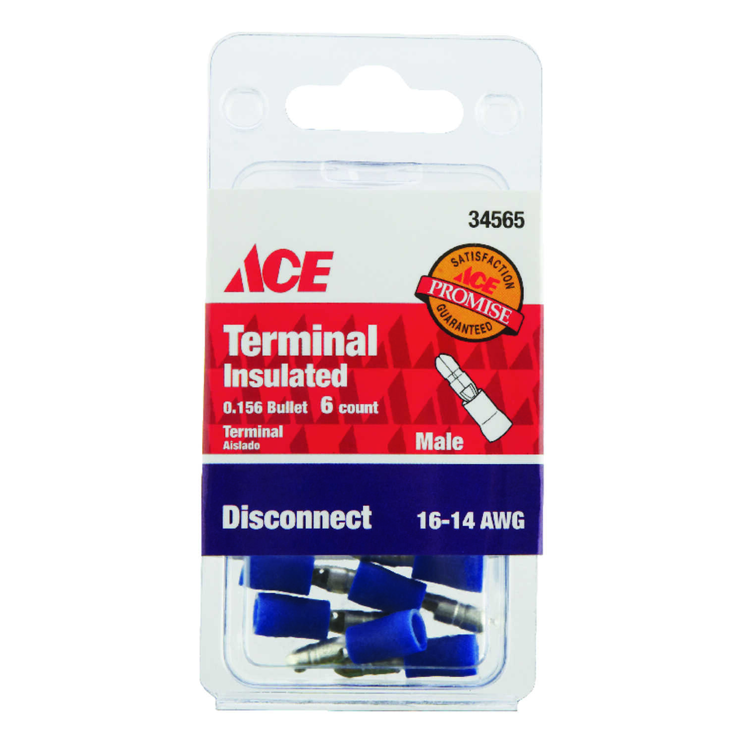 Ace  Insulated Wire  Male Disconnect  6 pk