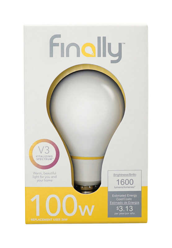 Finally  Lucidity Lights  A19  E26 (Medium)  LED Bulb  Warm White  100 Watt Equivalence 1 pk
