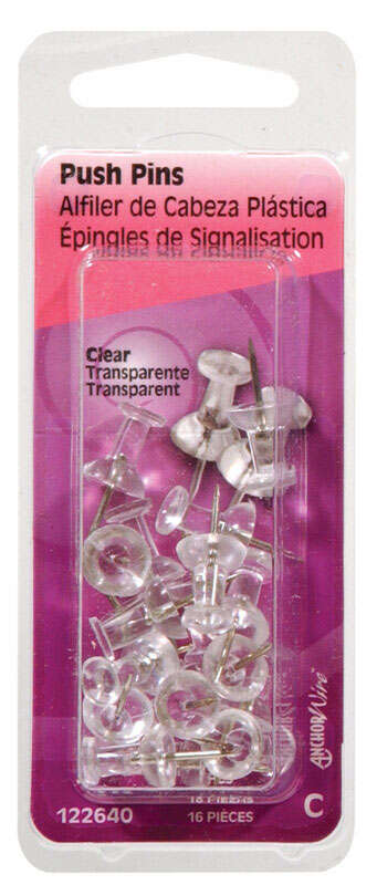 Hillman Clear Push Pins 16 pk