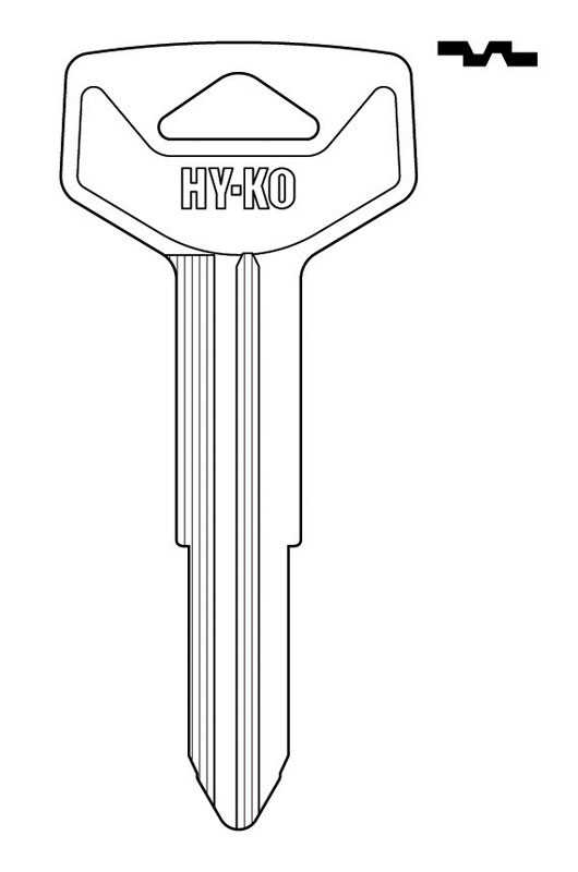 Hy-Ko  Automotive  Key Blank  EZ# TR44  Double sided For Fits Many 2002 And Older Ignitions