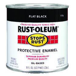 Rust-Oleum Stops Rust Indoor and Outdoor Flat Black Oil-Based Protective Paint 0.5 pt.