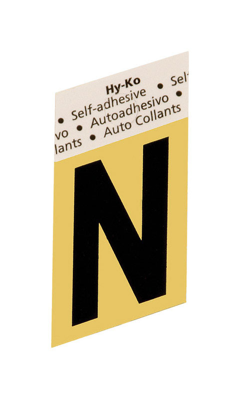 Hy-Ko  1-1/2 in. Black  N  Letter  Aluminum  Self-Adhesive