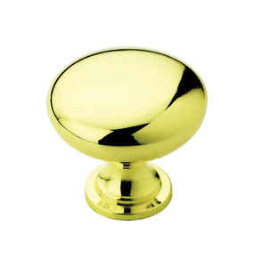 Amerock  Allison  Round  Cabinet Knob  1-1/4 in. Dia. 1-1/8 in. Polished Brass  10 pk
