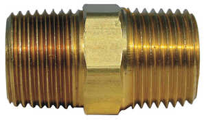 JMF  1/2 in. Dia. x 1/2 in. Dia. MPT To MPT  Yellow Brass  Hex Pipe Nipple