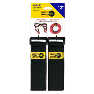 Wrap-It Storage  Super-Stretch  2 in. W x 12 in. L Black  Stretch Storage Straps  10 lb. 4 pk
