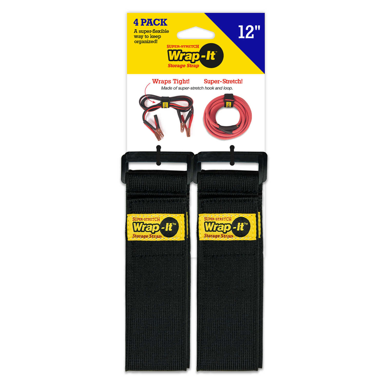 Wrap-It  12 in. L x 2 in. W Stretch Storage Straps  10 lb. Black  4 pk
