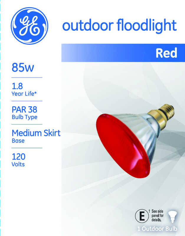 GE Lighting  Watt-Miser  85 watts PAR38  Incandescent Bulb  Red  1 pk Floodlight  1310 lumens