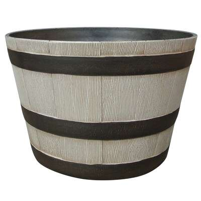 Southern Patio  9.21 in. H x 20.5 in. Dia. Resin  Whiskey Barrel  Planter  Birch