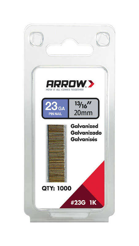 Arrow Fastener  23 Ga. Smooth Shank  Straight Strip  Pin Nails  Assorted in. L x 0.03 in. Dia. 1,000