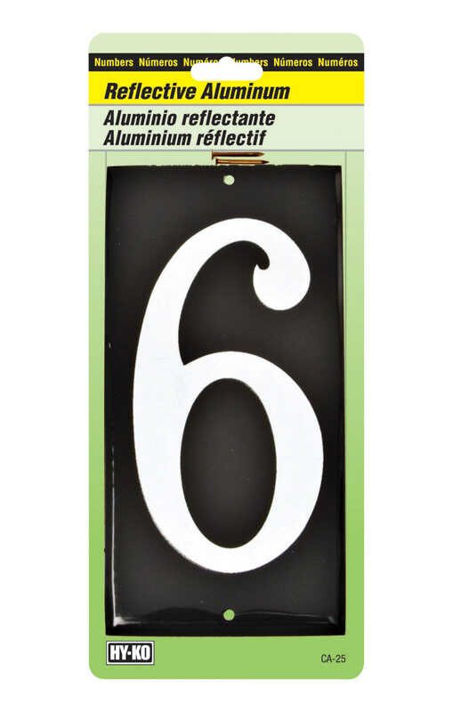 Hy-Ko  3-1/2 in. Reflective Aluminum  White  6  Number  Nail-On