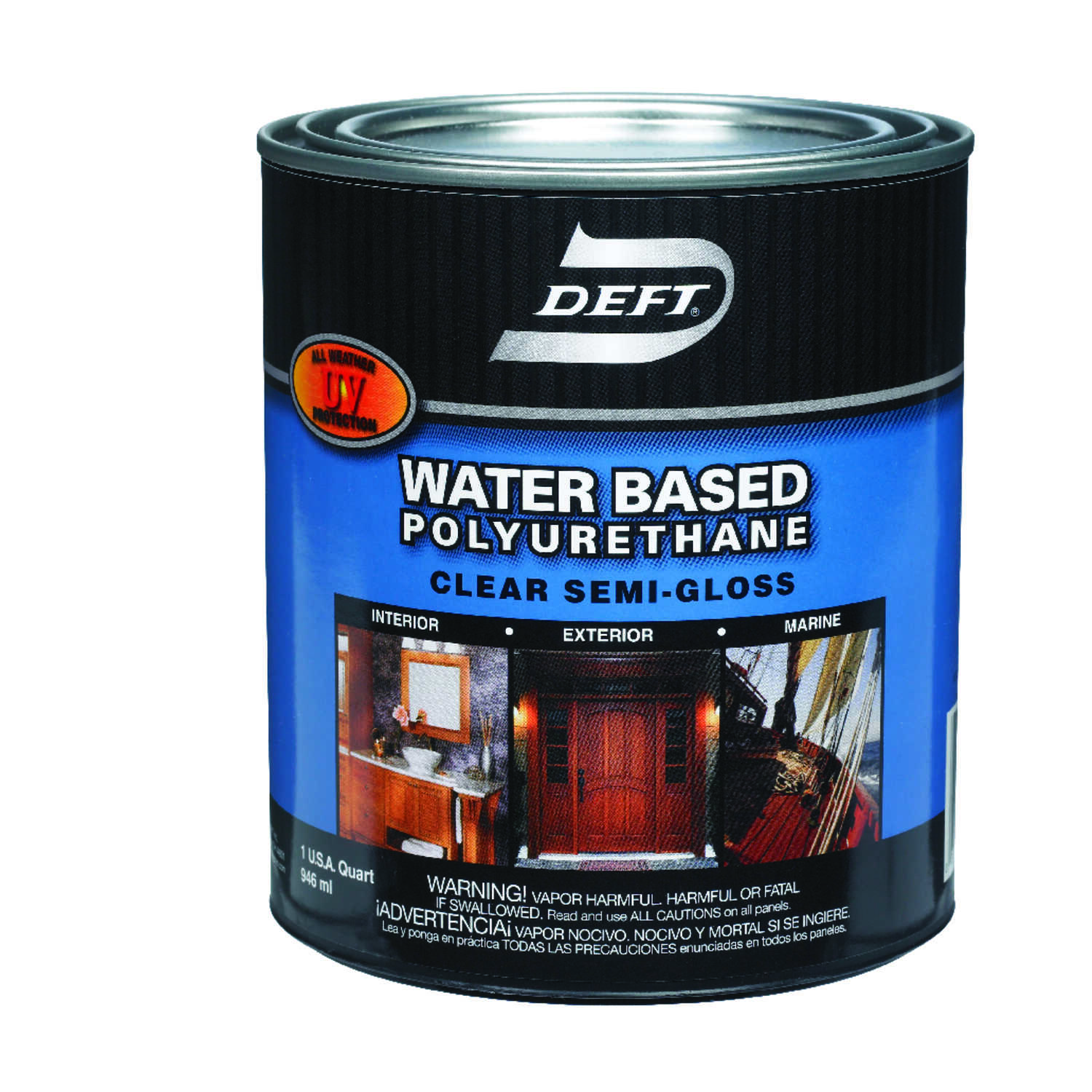 Deft  Water Based Polyurethane  Semi-Gloss  Clear  Waterborne Wood Finish  1 qt.