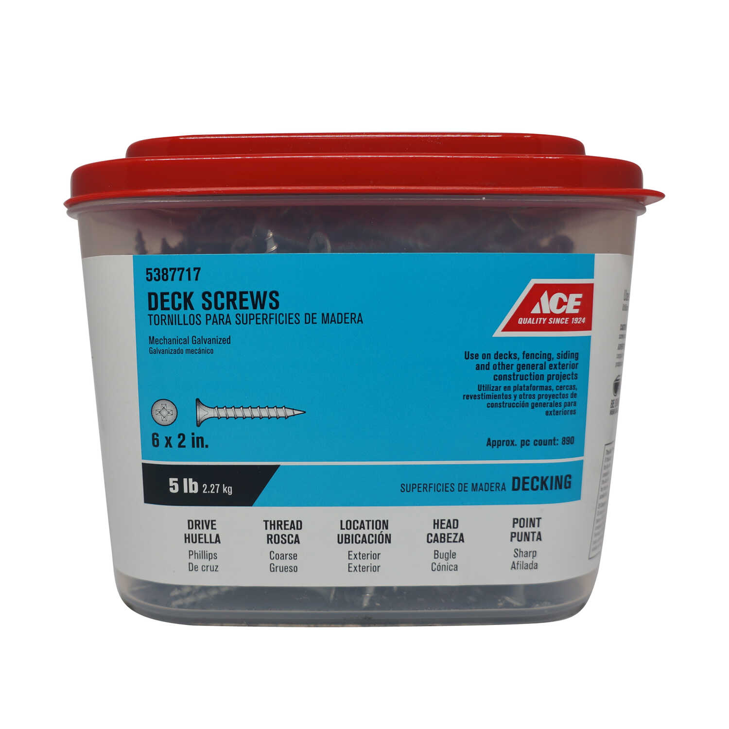 Ace  No. 6   x 2 in. L Phillips  Bugle Head Galvanized  Deck Screws  5 lb. 873 pk