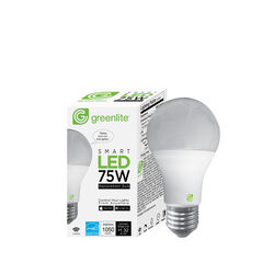Greenlite  A19  E26 (Medium)  Smart WiFi LED Bulb  Soft White  75 Watt Equivalence 1 pk