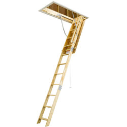Werner 10 ft. H x 25 in. W Wood Attic Ladder Type 1 250 lb. capacity