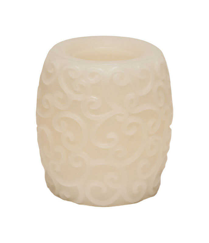 Inglow  Vanilla Scent Butter Cream  Carved Hurricane Pillar  Candle  4 in. H