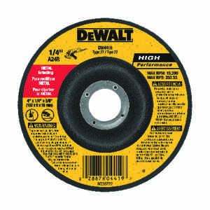 DeWalt  High Performance  4 in. Dia. x 1/4 in. thick  x 5/8 in.   Aluminum Oxide  Metal Grinding Whe