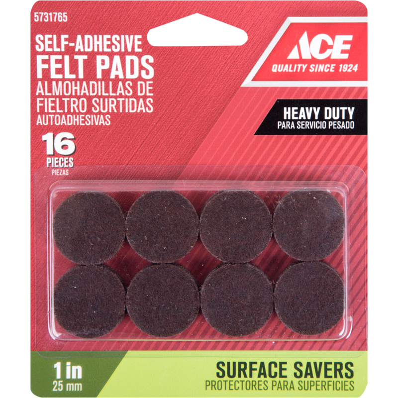 Ace  Felt  Self Adhesive Pad  Brown  Round  1 in. W 16 pk Self Adhesive
