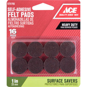 Ace  Felt  Pad  Brown  Round  1 in. W 16 pk Self Adhesive
