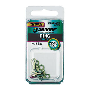 Jandorf  22-18 Ga. Uninsulated Wire  Terminal Ring  5 pk