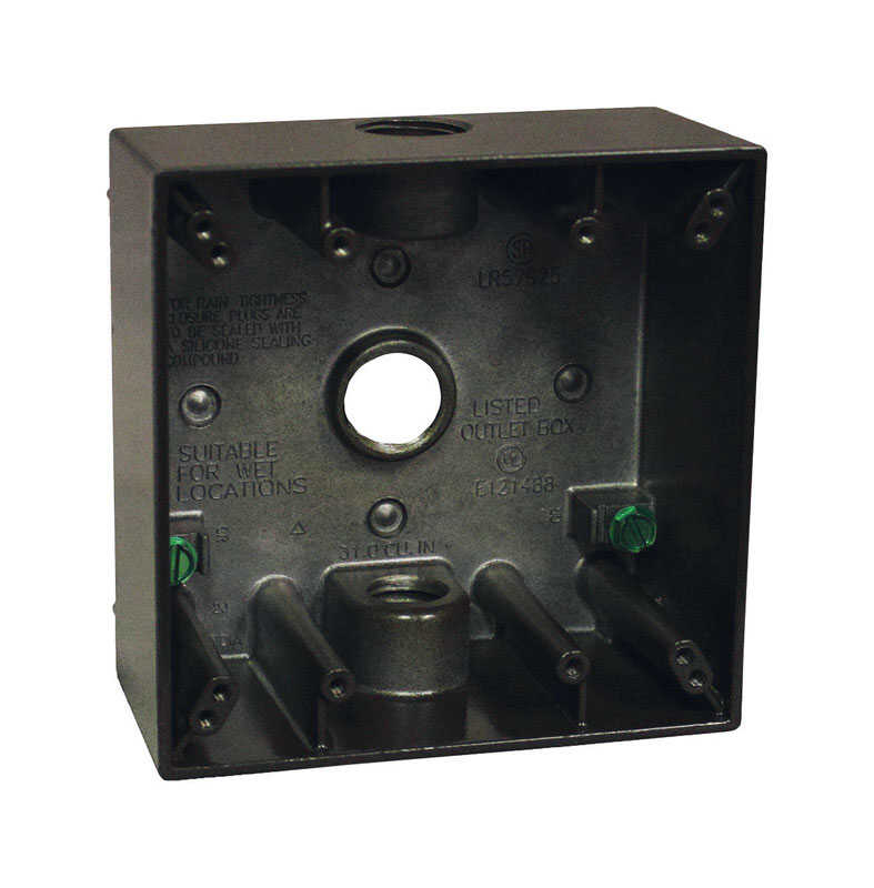 Sigma  Square  Aluminum  2 gang 4-1/2 in. Bronze  2 Gang  Outlet Box