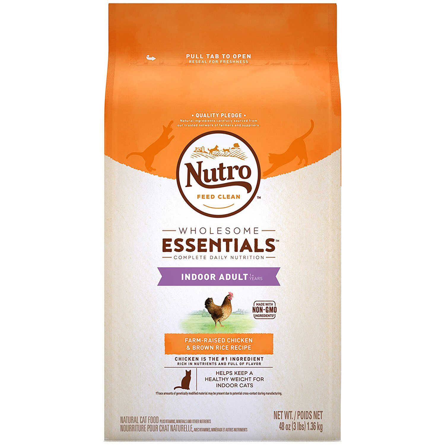 Nutro  Wholesome Essentials  Chicken and Brown Rice  Dry  Cat  Weight Management Food  3 lb.