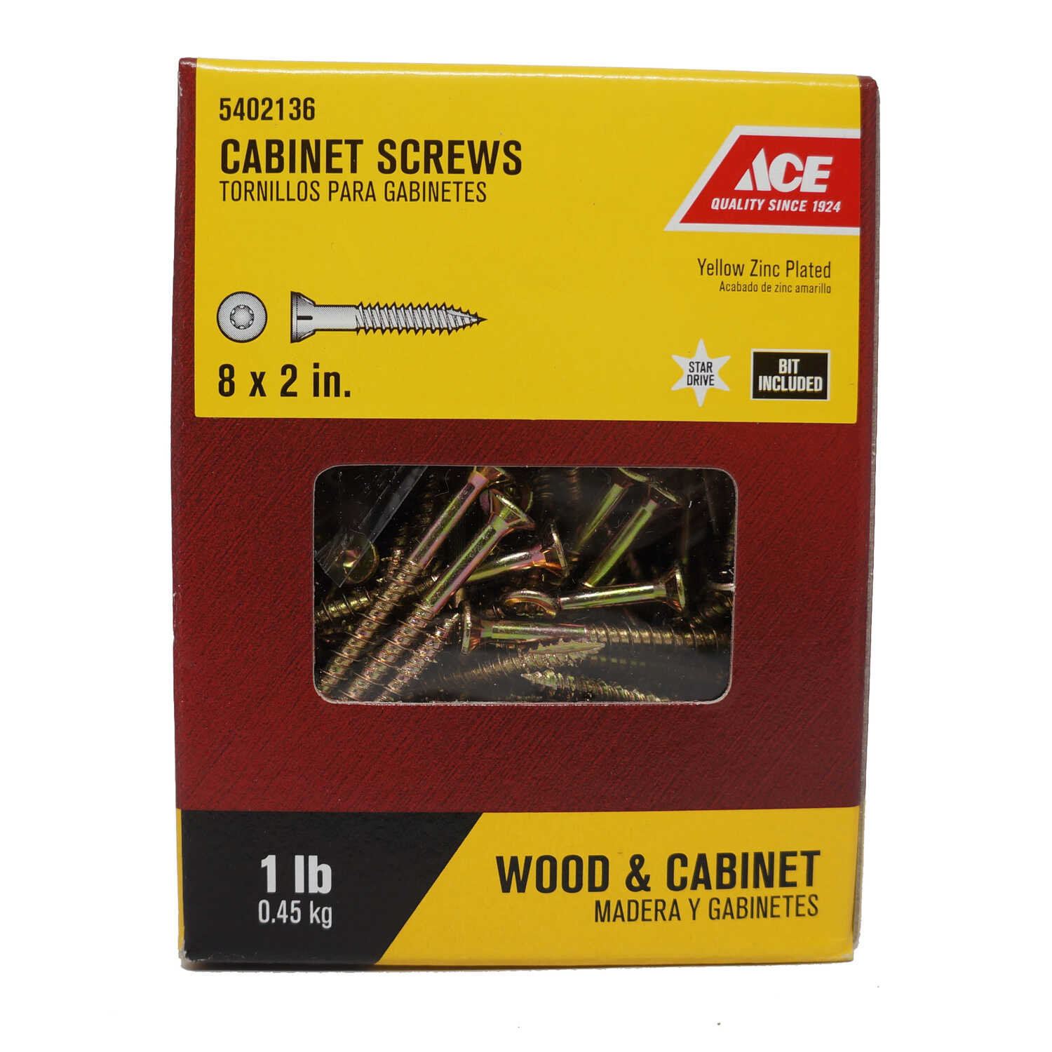 Ace  No. 8   x 2 in. L Star  Flat Head Yellow Zinc-Plated  Cabinet Screws  1 lb. 145 pk Steel