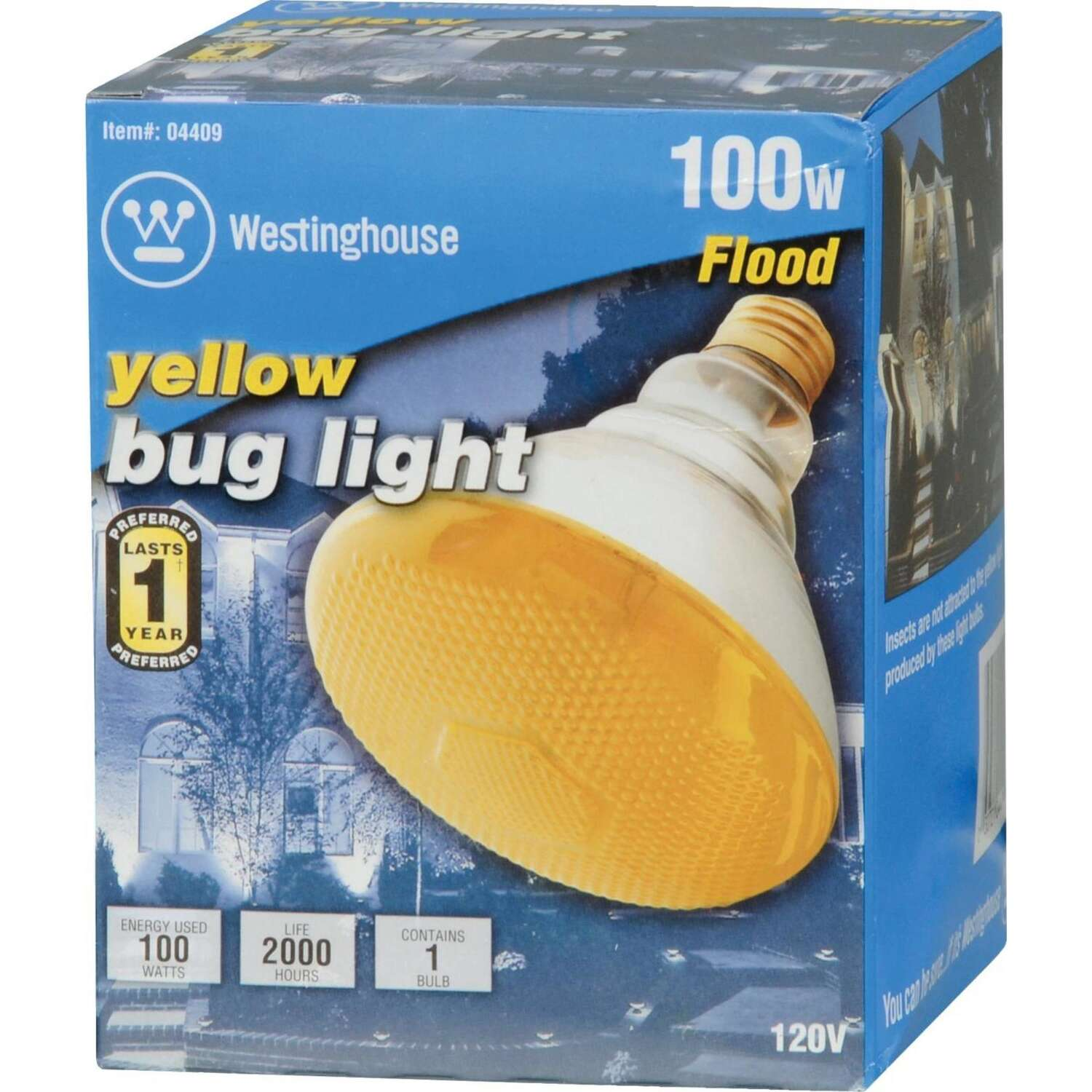 Westinghouse  Bug Light  100 watts E26  Incandescent Bulb  Yellow  1 pk Floodlight