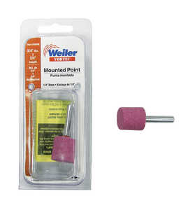 Weiler  3/4 in. Dia. x 0.25 in. L Aluminum Oxide  Stem Mounted Point  Cylinder  47000  1 pc.