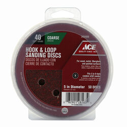 Ace 5 in. Aluminum Oxide Hook and Loop Sanding Disc 40 Grit Coarse 50 pk