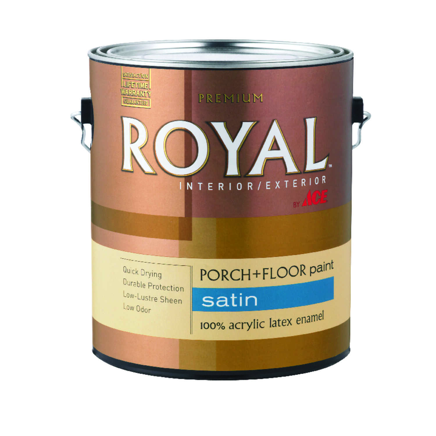 Ace  Royal  Satin  White  Acrylic Latex  Porch & Floor Paint  Satin  1 gal.