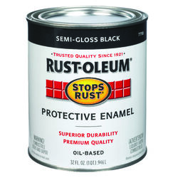Rust-Oleum Stops Rust Semi-Gloss Black Oil-Based Protective Paint Exterior and Interior 1 qt.