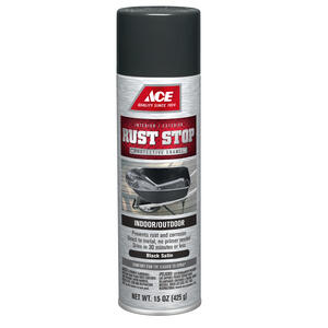 Ace  Rust Stop  Satin  Black  Spray Paint  15 oz.