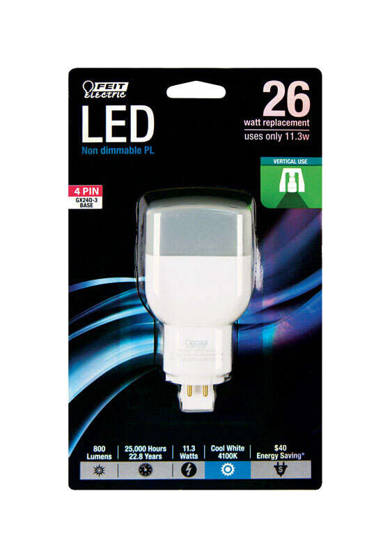 FEIT Electric  PL  GX24Q-3 4-Pin  LED Bulb  Cool White  26 Watt Equivalence 1 pk