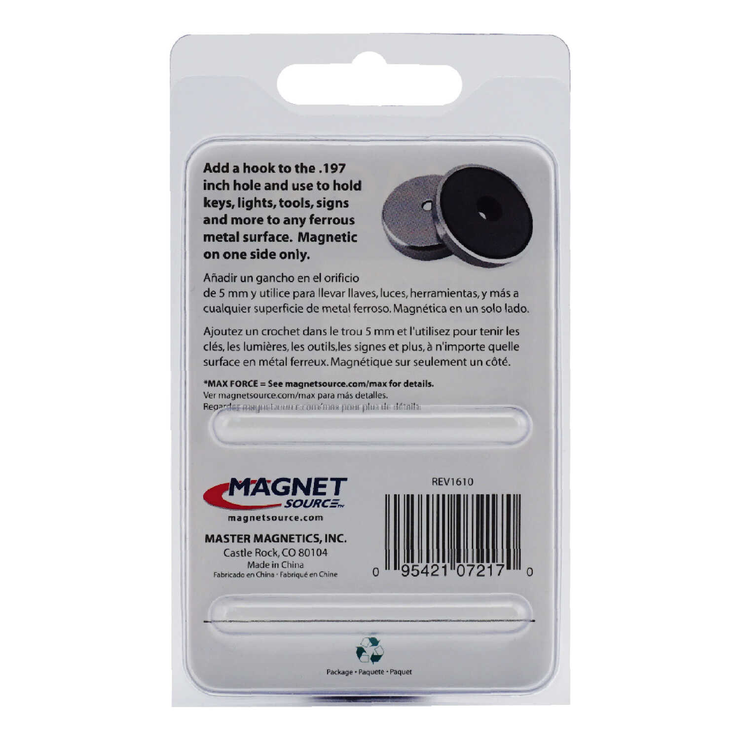 Master Magnetics  .303 in. Ceramic  Round Base Magnet  25 lb. pull 3.4 MGOe Silver  1 pc.
