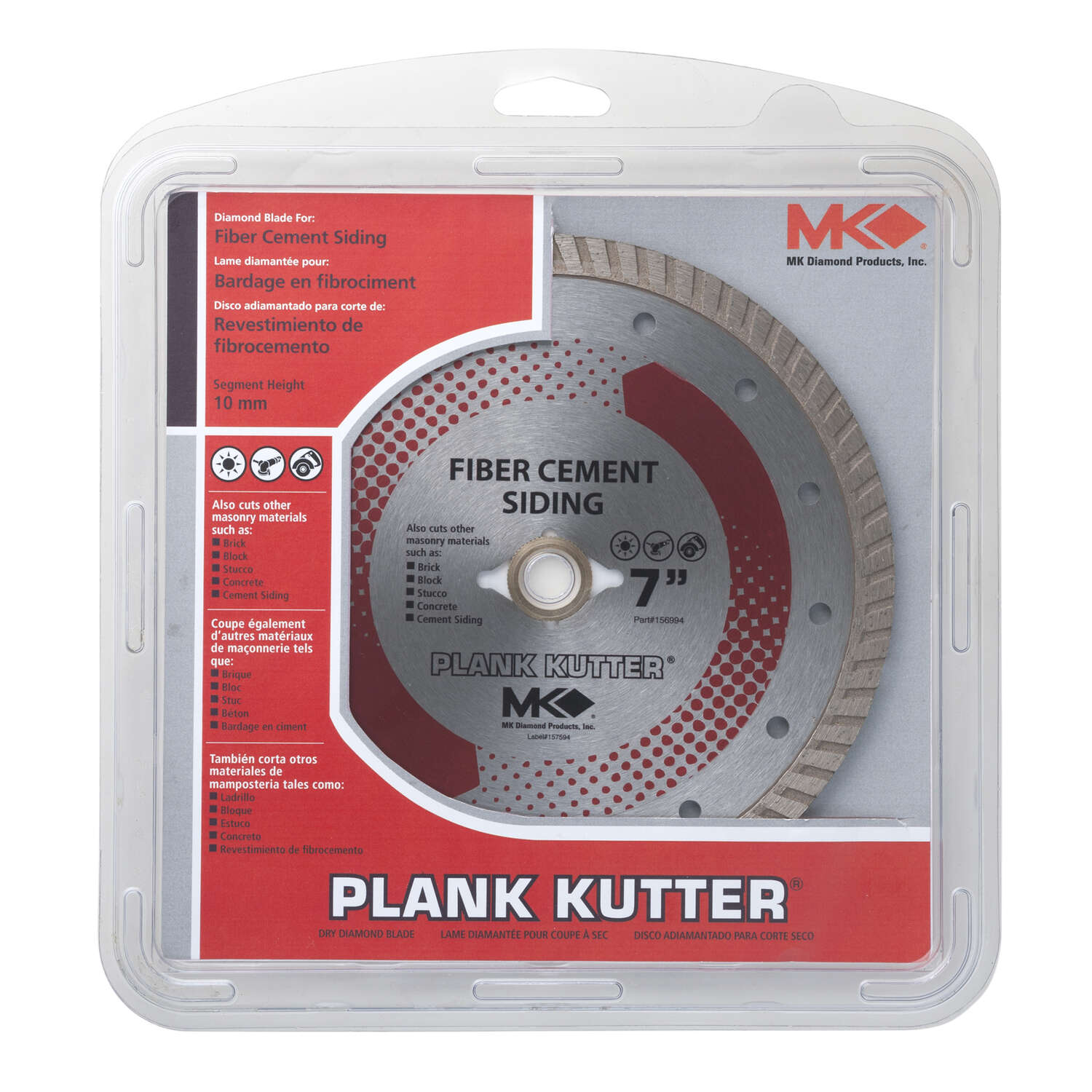 M.K. Diamond  7 in. Dia. x 5/8 in.  Plank Kutter  Diamond  Continuous Rim Circular Saw Blade  1 pc.