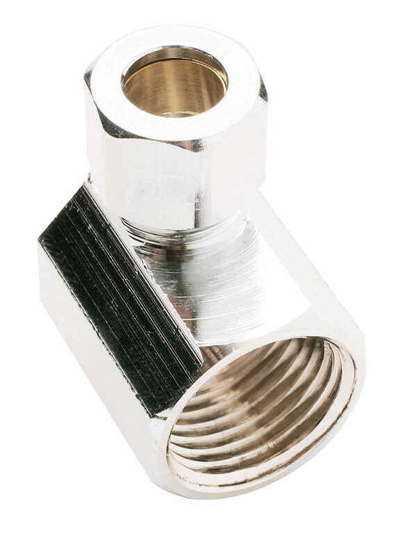 Ace  3/8 in. FPT   x 3/8 in. Dia. Compression  Chrome plated brass  Angle Connector