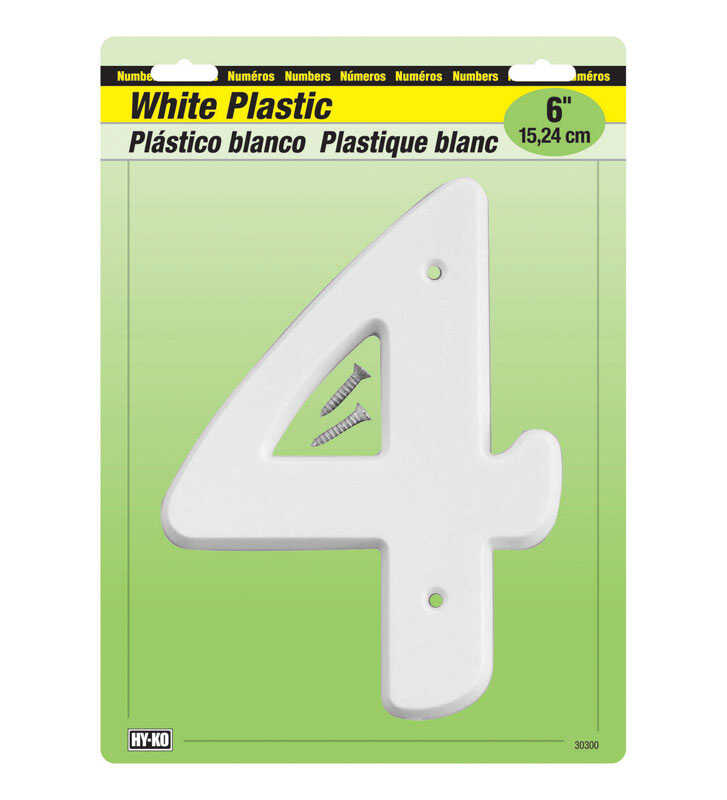 Hy-Ko  6 in. White  4  Number  Nail On  Plastic