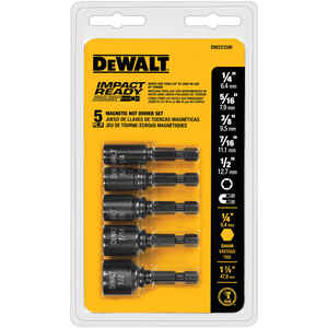DeWalt  Impact Ready  Multi Size in.  x 1-7/8 in. L Black Oxide  Nut Driver Set  5 pc.