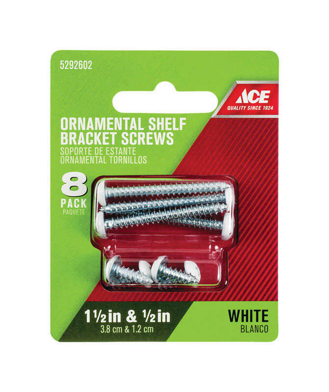 Ace  White  Steel  Ornamental Shelf Bracket Screws  Assorted in. L