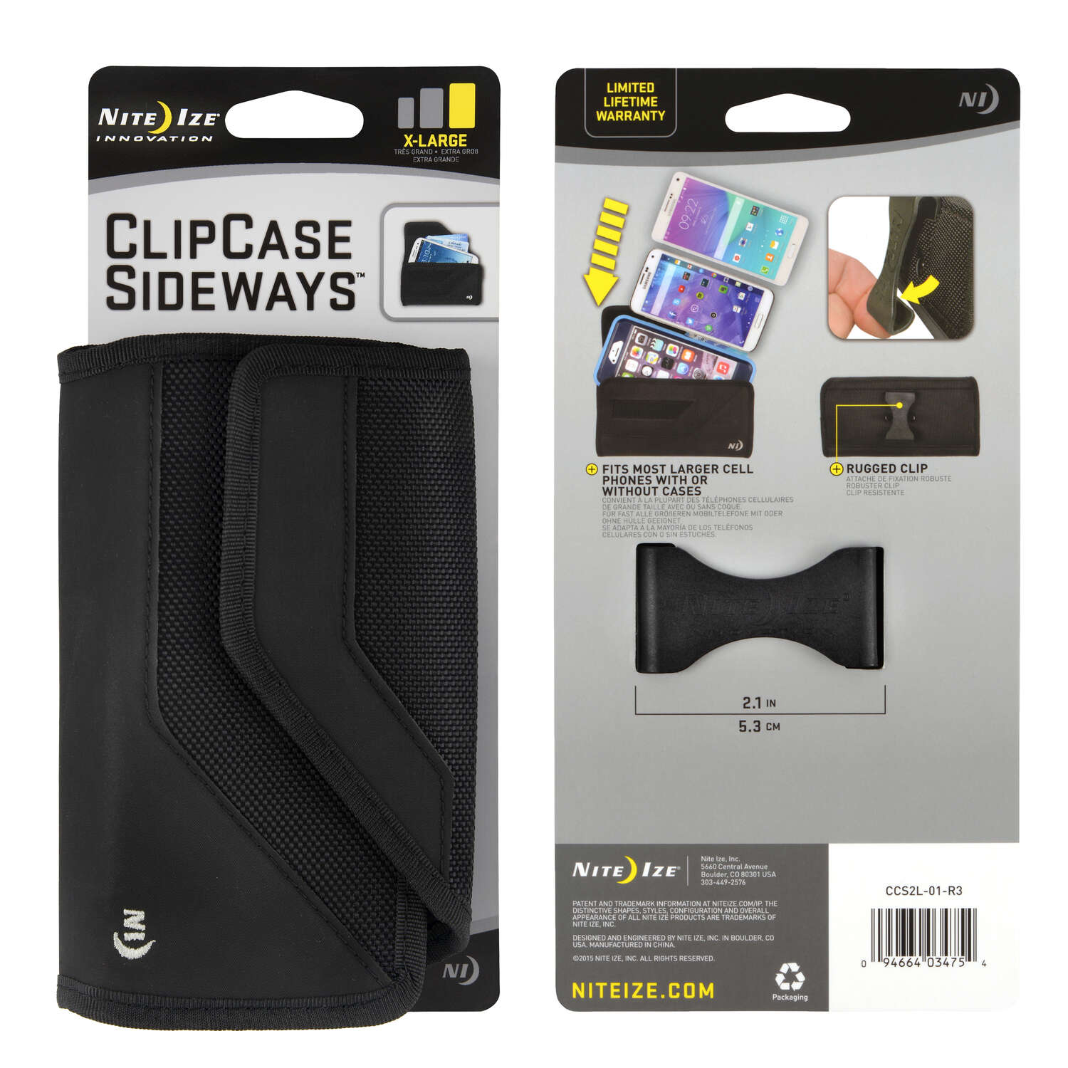 Nite Ize  Clip Case Sideways  Black  Sideways Cell Phone Case  For Universal Universal