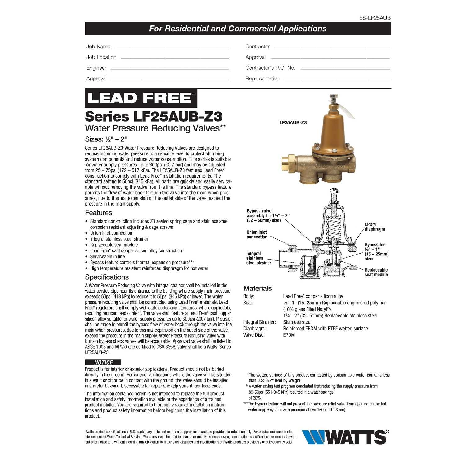 Watts  3/4  Brass  Pressure Relief Valve